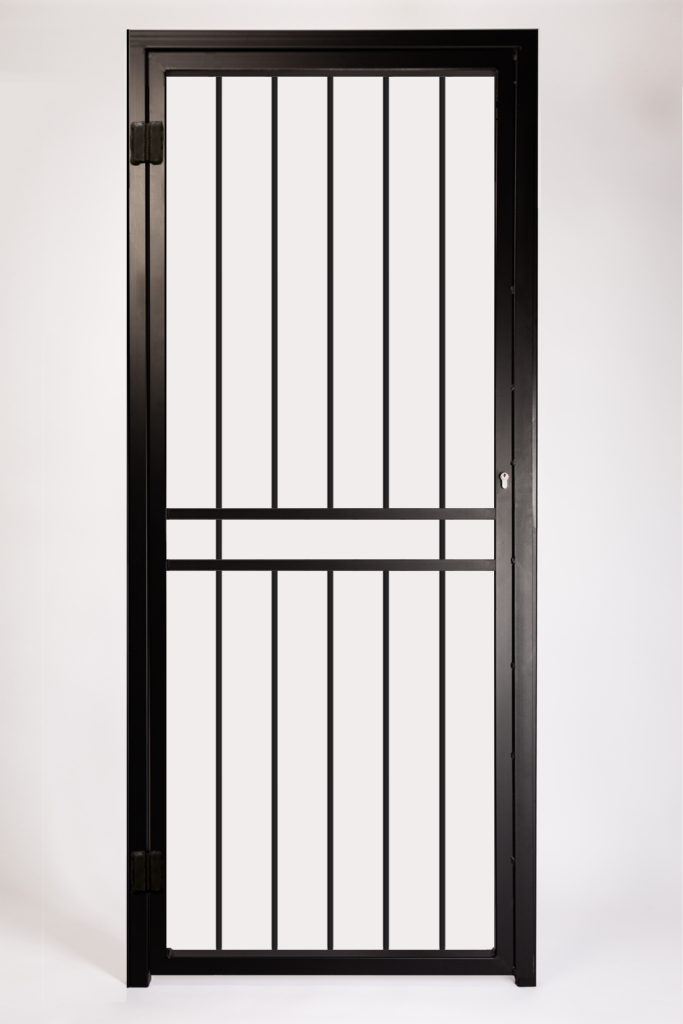 HPSG Basic Security Gate. Design Features Solid Steel 12mm Square Infill Bars and Letterbox Opening.