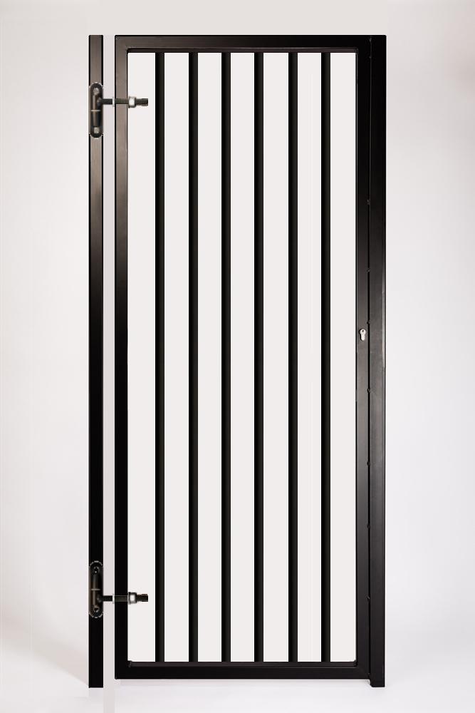 HPSG Adjustable Security Gate. Features Adjustable Hinges, Robust 33mm Steel Tube Infills and 40x40mm SHS Profile. Finish: Black.