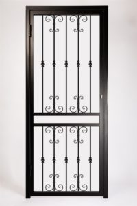 Decorative Type 1 Security Gate For Front and Back Doors. Design Features Decorative Steel Scroll Panels.
