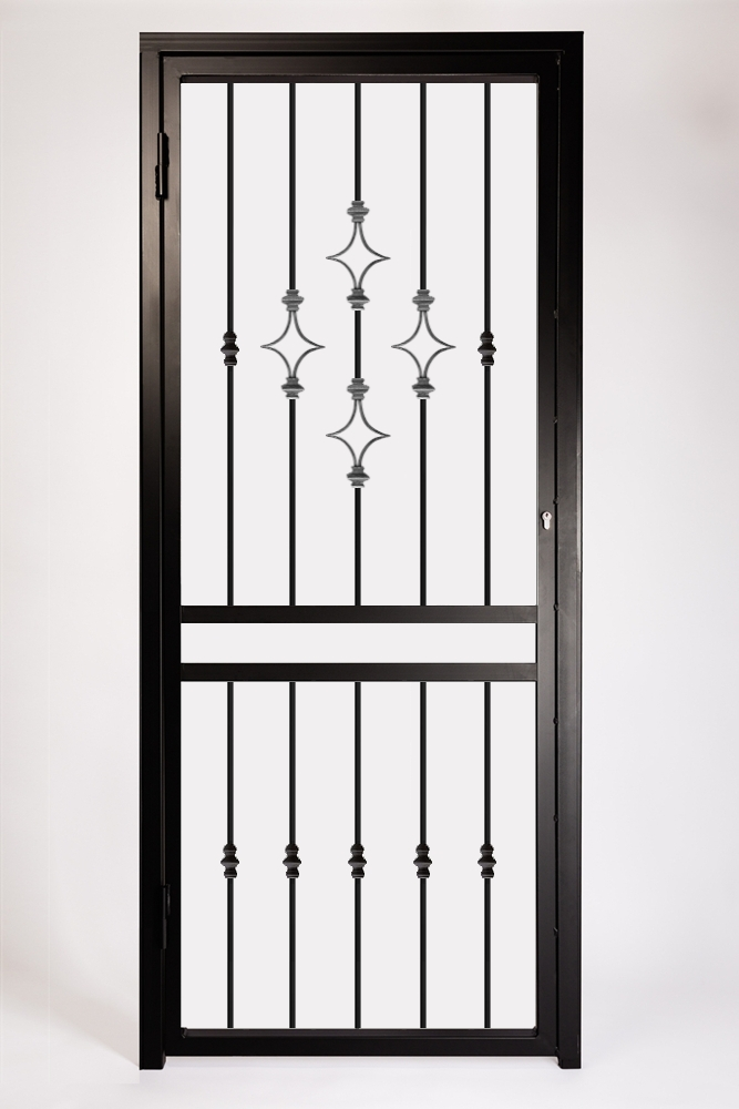 Decorative Type 3 Security Gate ~ With Letterbox Opening. Design Features Decorative Steel Star Panels.