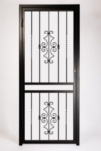 Decorative Type 5 Security Gate ~ With Letterbox Opening. Design Features Decorative Steel Panels and Bushes.