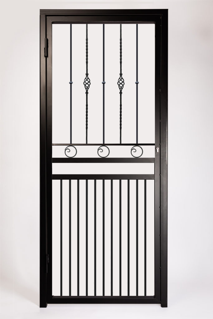 Decorative Type 6 Security Gate ~ With Letterbox Opening. Design Features Baskets and Fishtail Circles.