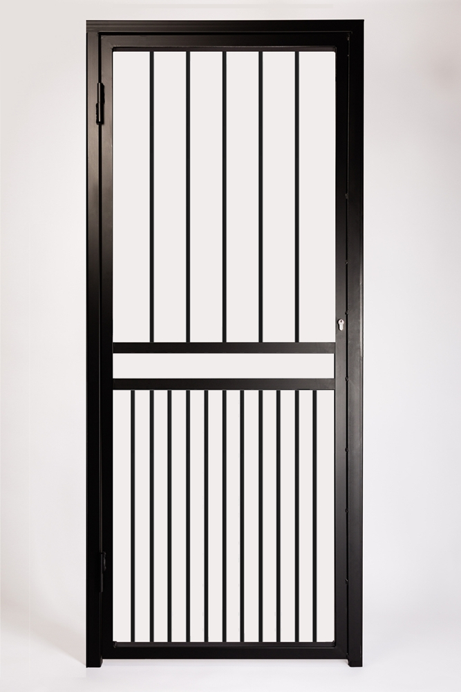 Double Bar Security Gate. Design Features Extra Set of 12mm Square Infill Bars in Lower Section and a Letterbox Opening.