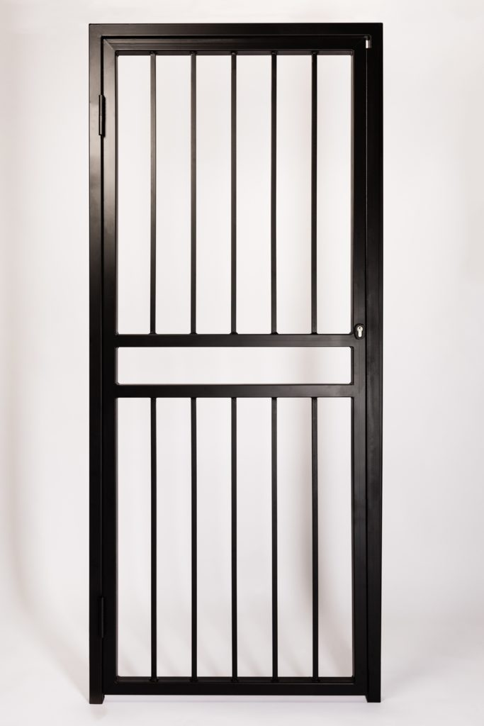 Iron Bar Security Gate for Doors and Openings. Design Features Solid Steel 16mm Round Infill Bars and Letterbox Opening.