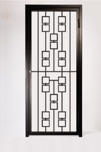 Decorative Square Pattern Security Gate. Modern Design Features Decorative Steel Square Panels.